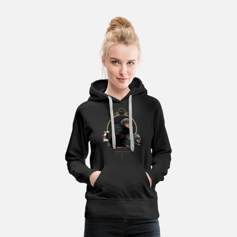 Animaux fantastiques Niffleurs Sweat shirt à capuche Premium pour femmes noir