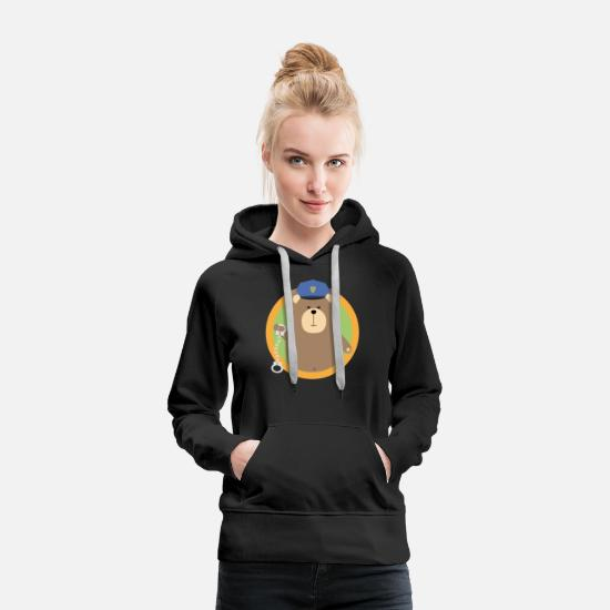 Justice Hoodies & Sweatshirts - Officer Grizzly with handcuffs in the district - Women's Premium Hoodie black