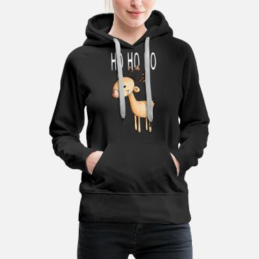 Cute Cartoon Ho Ho Ho Petit Renne - Sweat à capuche premium Femme