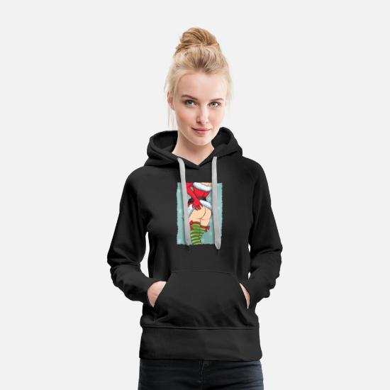 Winter Hoodies & Sweatshirts - Christmas theme Sexy Pin Up Girl Christmas - Women's Premium Hoodie black