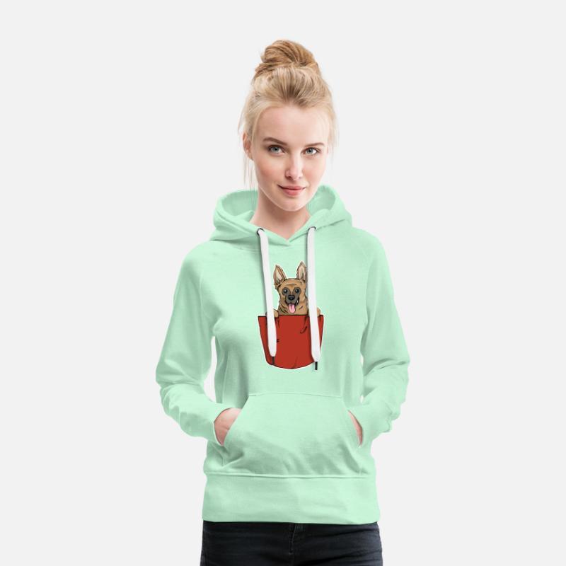 Cadeau de poche de coffre de chien de berger allemand Sweat shirt à capuche Premium pour femmes vert clair menthe