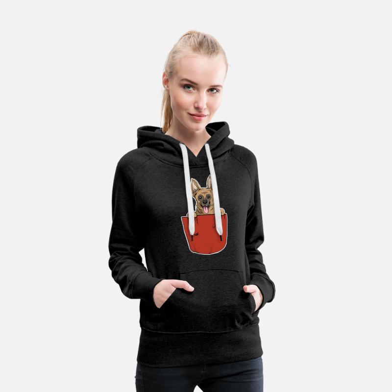 Cadeau de poche de coffre de chien de berger allemand Sweat shirt à capuche Premium pour femmes charbon