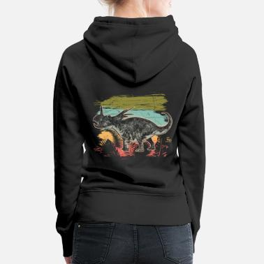 Lizard Diceratops Dinosaur Wilderness Jungle Fossil - Women's Premium Hoodie