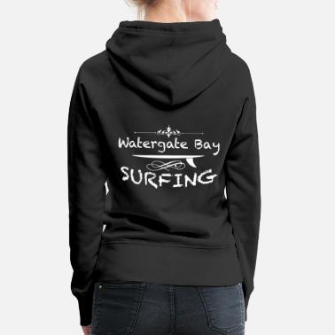 Meeting Surf spot Watergate Bay Newquay England UK Gift - Women's Premium Hoodie