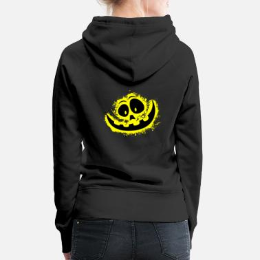 Carved Halloween yellow and black outline - Women's Premium Hoodie