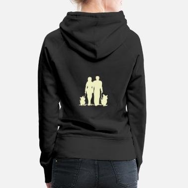 Together walk with dog gassi romance partnership - Women's Premium Hoodie