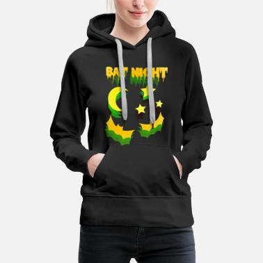 Yellow Halloween bat night yellow green - Women's Premium Hoodie
