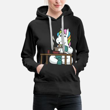 Girlfriend Unicorn mythical creatures eat gift asian noodles - Women's Premium Hoodie