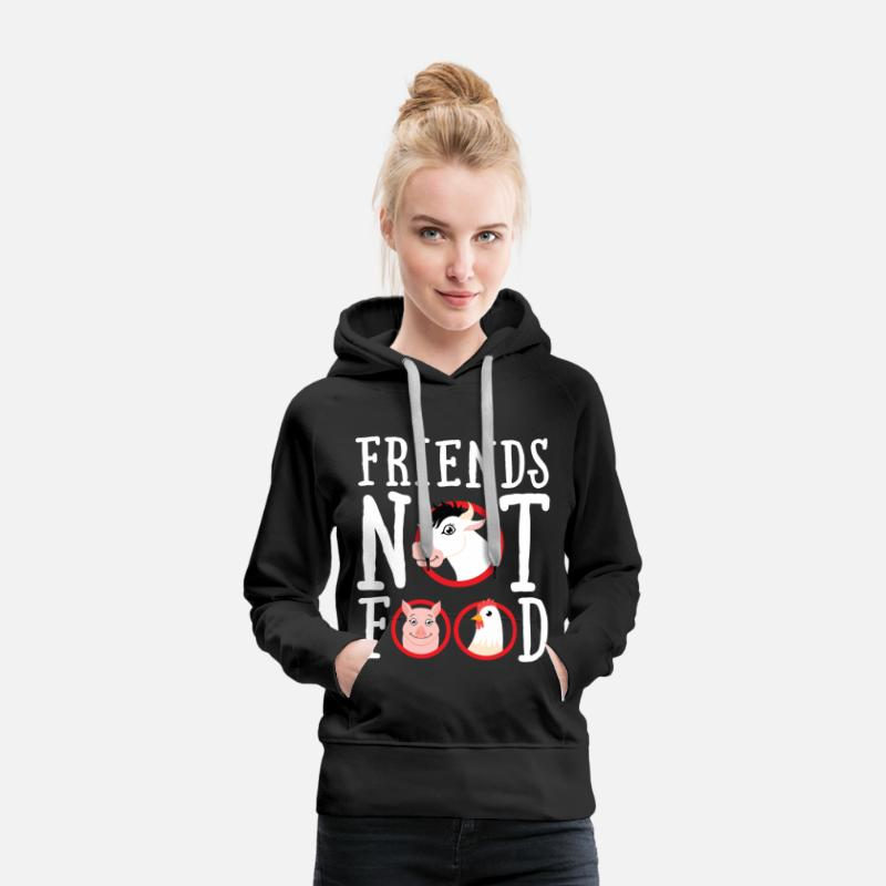 Vegan Bluzy - Friends Not Food | Vegan Statement - Premium bluza damska z kapturem czarny