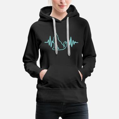 WOLF HEARTBEAT TSHIRT GIFT IDEA ANIMAL FUNNY - Dame Premium hættetrøje