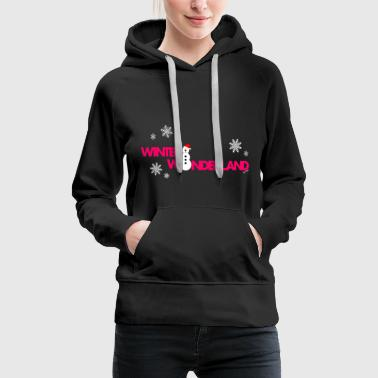 Winter wonderland lady girl woman pink - Women's Premium Hoodie