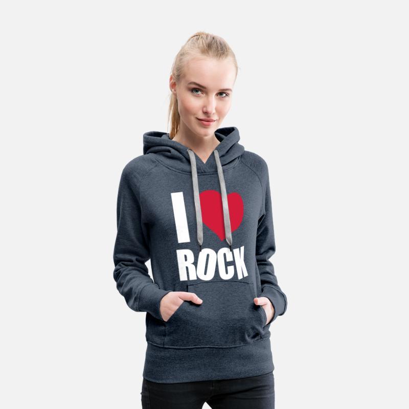 I Love Rock Sudadera con capucha premium mujer  7741b3f372da