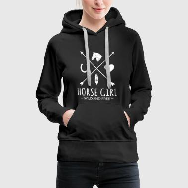 Horse Jumping Jumpers Riding Gift Horse Girl Wild And Free Arrow - Women's Premium Hoodie