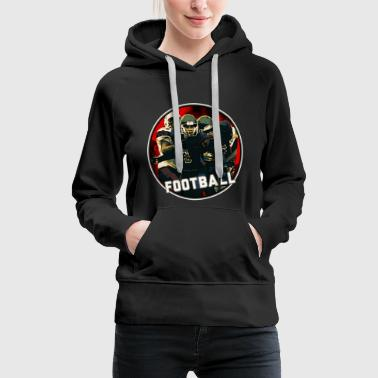 Cool Football Season Red Art Graphic Youth Helmet & Jersey on White on Black - Women's Premium Hoodie
