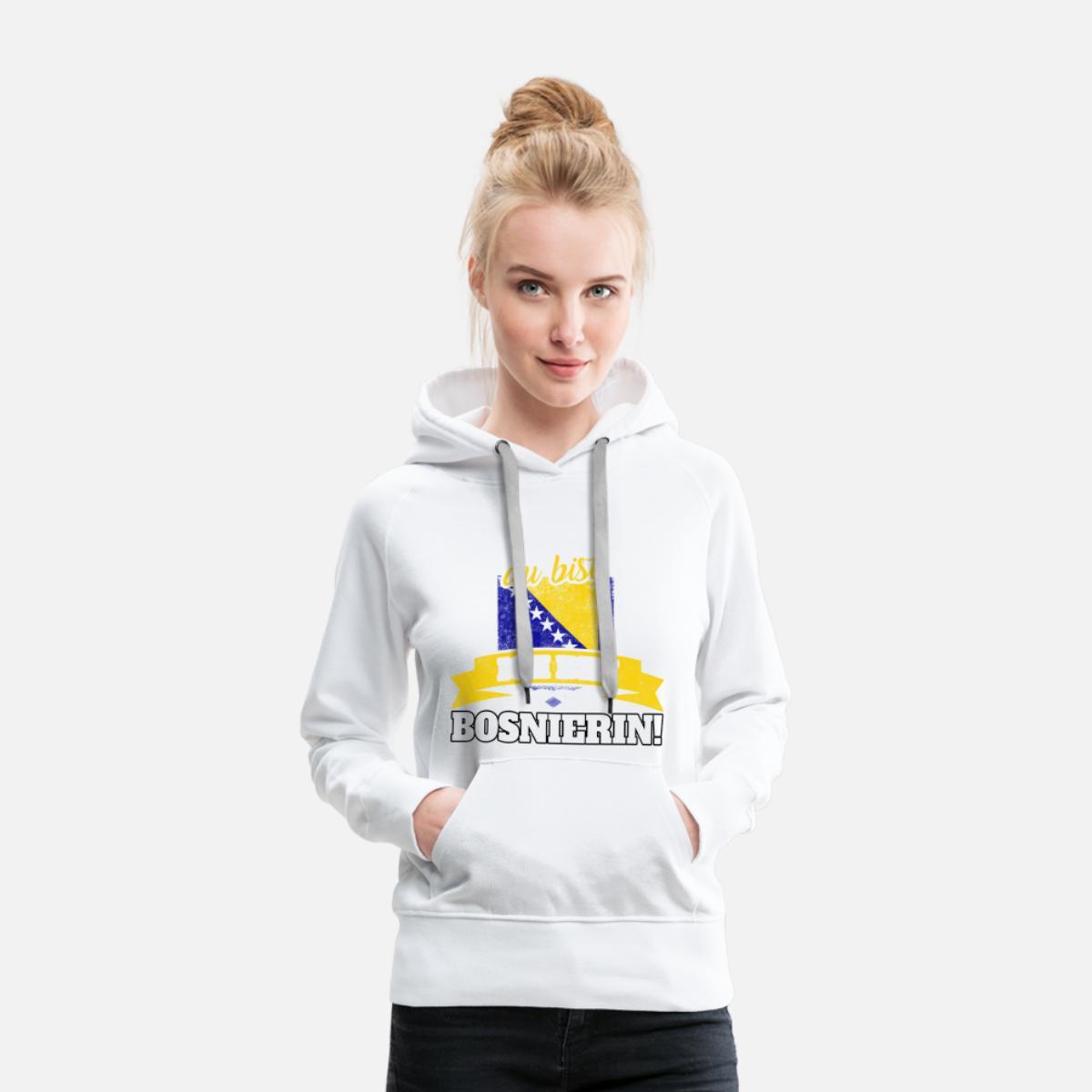 Bosnier Bosnien Bosnierin bosnisch Geschenk Frauen Premium Hoodie Weiß