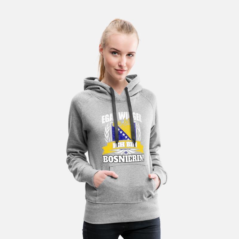 Bosnier Bosnien Bosnierin bosnisch Geschenk Frauen Premium Hoodie Grau meliert
