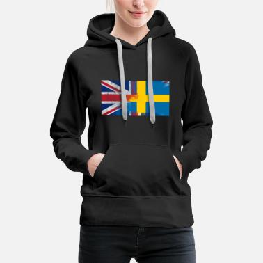 Sweden British Swedish Half Sweden Half UK Flag - Women's Premium Hoodie