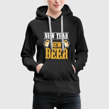 Happy new year new year celebration beer fireworks - Women's Premium Hoodie