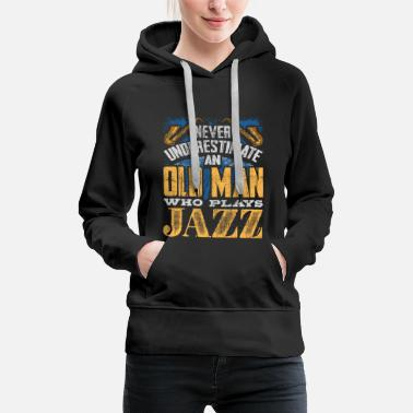 Rock Music The old man plays jazz music - Women's Premium Hoodie