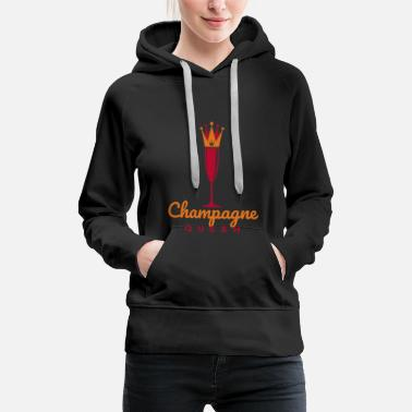 Laugh Funny Champagne Queen Crown - Women's Premium Hoodie