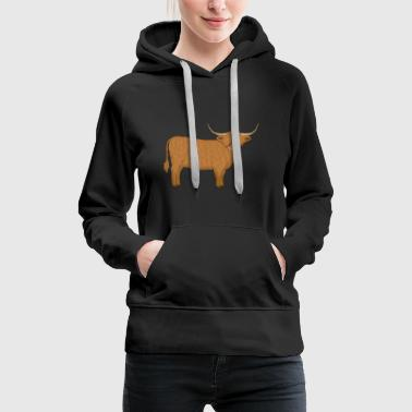 Cow Highland cattle looking - Women's Premium Hoodie