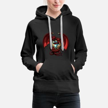 Red Dragon Dragon protects polyhedral cubes | gift - Women's Premium Hoodie