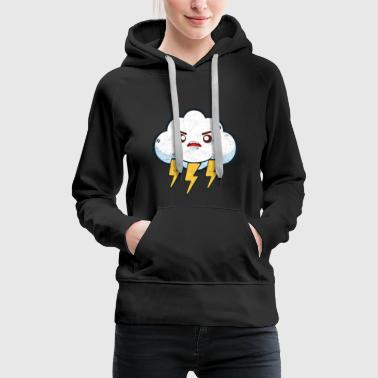 Lightning Thunderstorm Gift Storm Comic Cloud - Women's Premium Hoodie