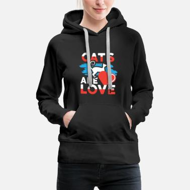 Rescue Dog Cats are Love Cat Lover - Women's Premium Hoodie
