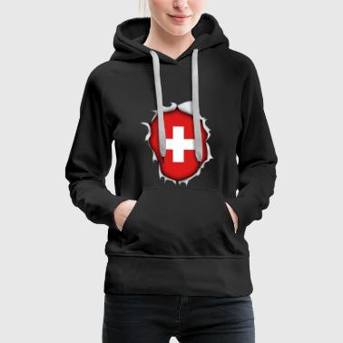 Switzerland country mountains flag cross torn vacation - Women's Premium Hoodie