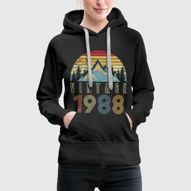 1988 Vintage Mountains Outdoor Glacier Camping - Women's Premium Hoodie