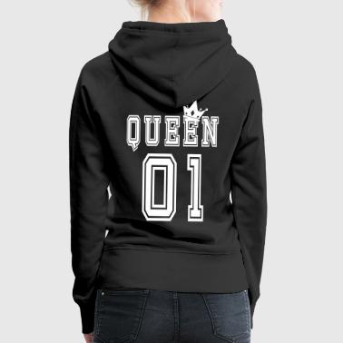 Valentine's Matching Couples Queen Crown Jersey - Sudadera con capucha premium para mujer