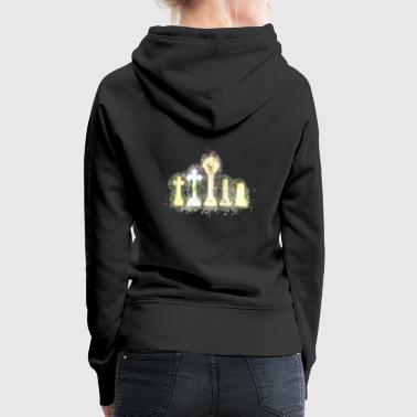 Cemetery gravestone brightly glowing - Women's Premium Hoodie
