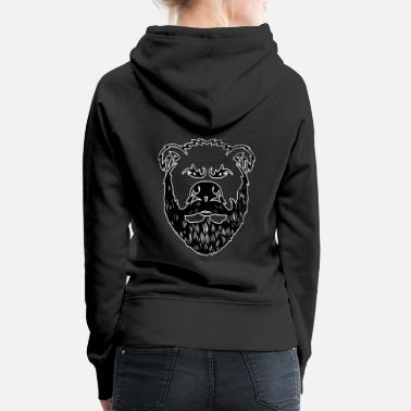 Macho Bear With Beard Beard Grizzly Black Bear Gift - Felpa con cappuccio premium da donna