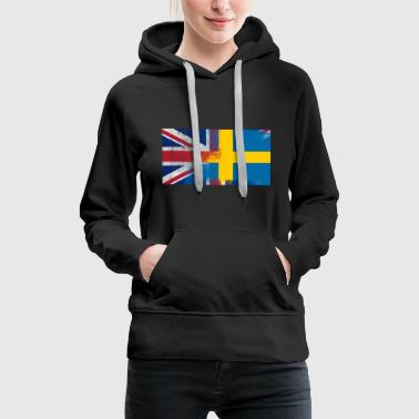 British Swedish Half Sweden Half UK Flag - Women's Premium Hoodie