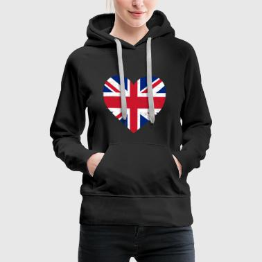 UK Flag Shirt Heart - Brittish Shirt - Women's Premium Hoodie