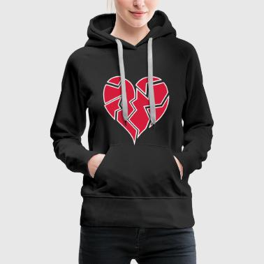 white outline heartbroken <3 - Women's Premium Hoodie
