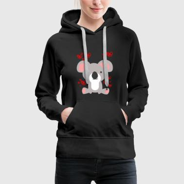 Koala Love T-Shirt - Valentines Day Cute Hearts - Women's Premium Hoodie