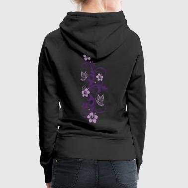 Tendril with hibiscus and butterflies - Women's Premium Hoodie