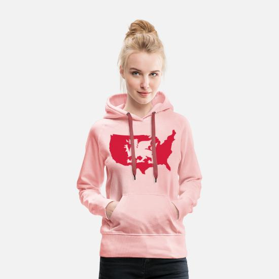 Red Dragon Hoodies & Sweatshirts - USA Welsh Dragon - Women's Premium Hoodie crystal pink