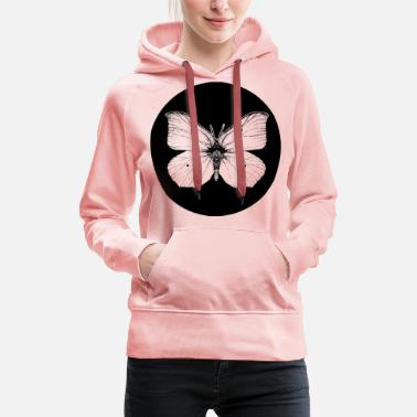 Vector Butterfly in the black circle - Women's Premium Hoodie
