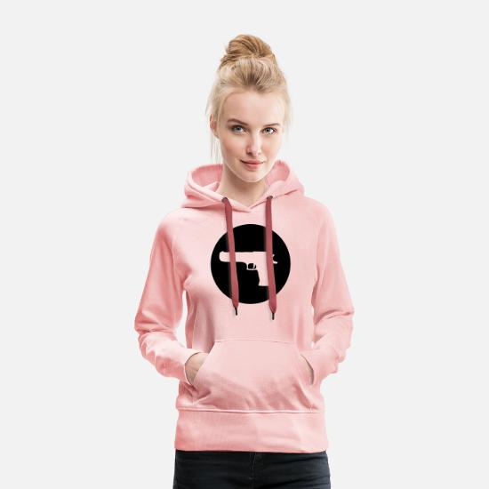 Pistolet Sweat-shirts - GUN - Sweat à capuche premium Femme rose cristal