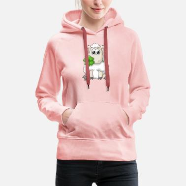 Clover Lucky comic sheep - Women's Premium Hoodie