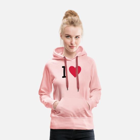 Paris Sweat-shirts - I Love - Sweat à capuche premium Femme rose cristal