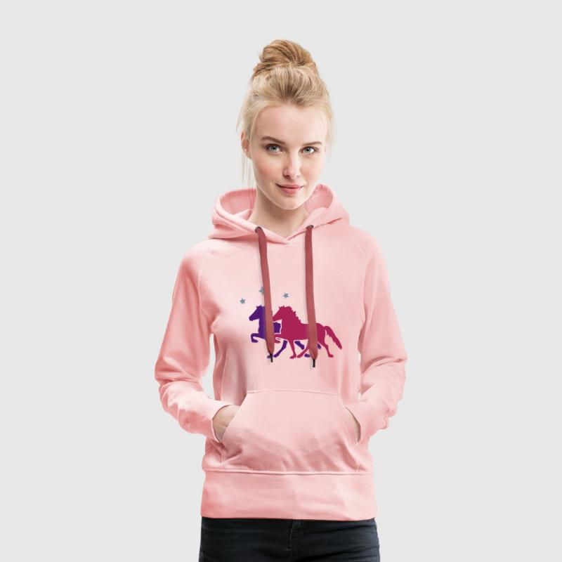 Two Horses with silver-metallic Stars  - Women's Premium Hoodie