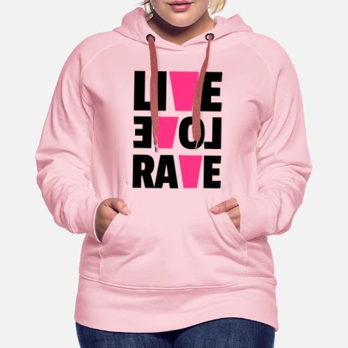 ... Love Rave - Sudadera con capucha premium mujer rosa cristal. ¿Quieres  personalizar el diseño  14bcb9abab4d