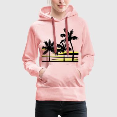 Palm Trees Surfer Caribbean Hawaii - Women's Premium Hoodie