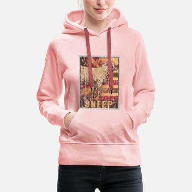 Form Retro Sheep Poster Distressed Look - Women's Premium Hoodie