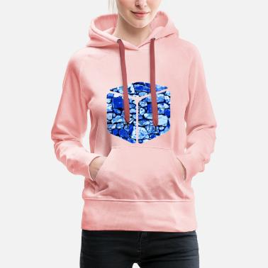 Concrete gxp rock stone wall pattern vector art blue - Women's Premium Hoodie