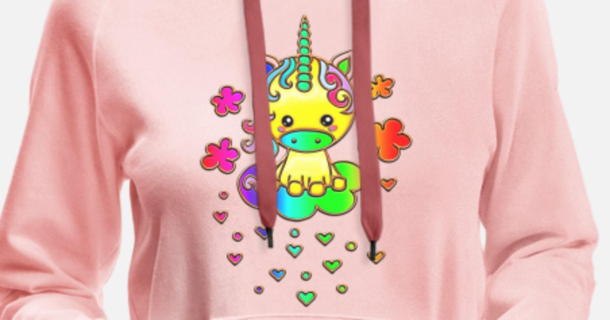 05c20989b8d94 Cute Rainbow Unicorn, Cloud, Kawaii, Manga, Anime Women s Premium Hoodie    Spreadshirt