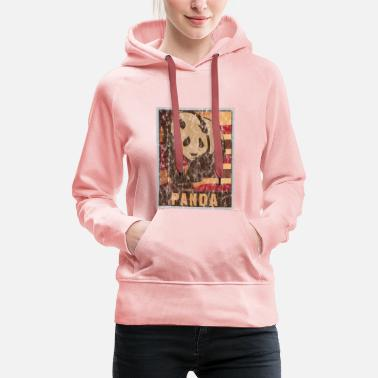 China Retro Panda Plakat Used Look - Frauen Premium Hoodie